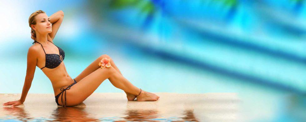 Honolulu's best tanning salon girl at beach